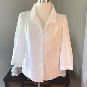 Talbots White Cotton Blouse Sz 2